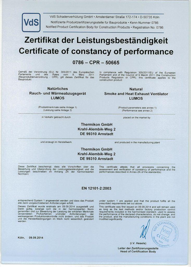 Zertifikat der Leistungsbeständigkeit VdS