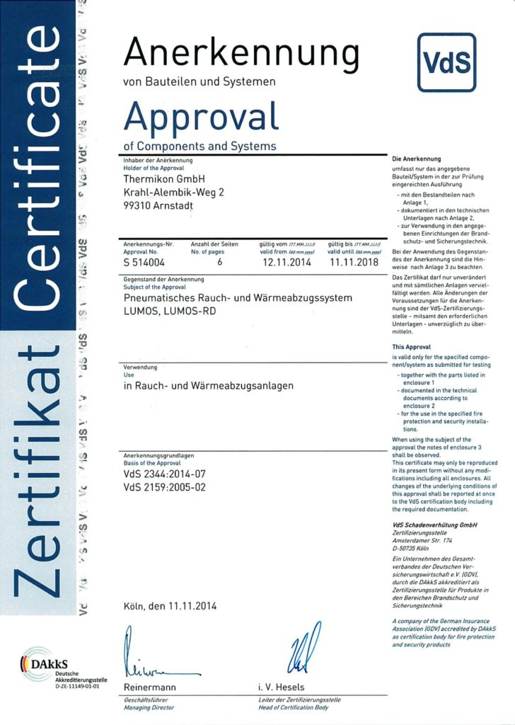 """Zertifikat """"Anerkennung von Bauteilen und Systemen"""" VdS"""
