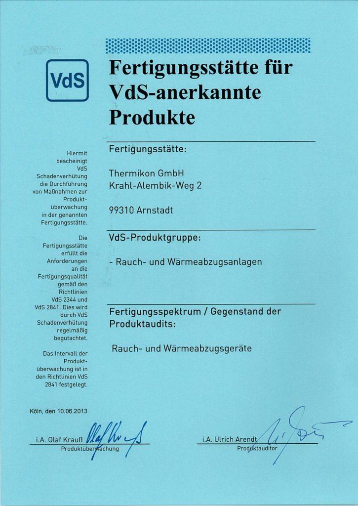 """pdf Nachweises """"Fertigungsstätte für VdS-anerkannte Produkte"""""""