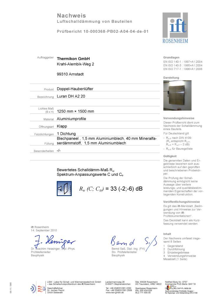 Nachweis Luftschalldämmung Luran DH A2 20