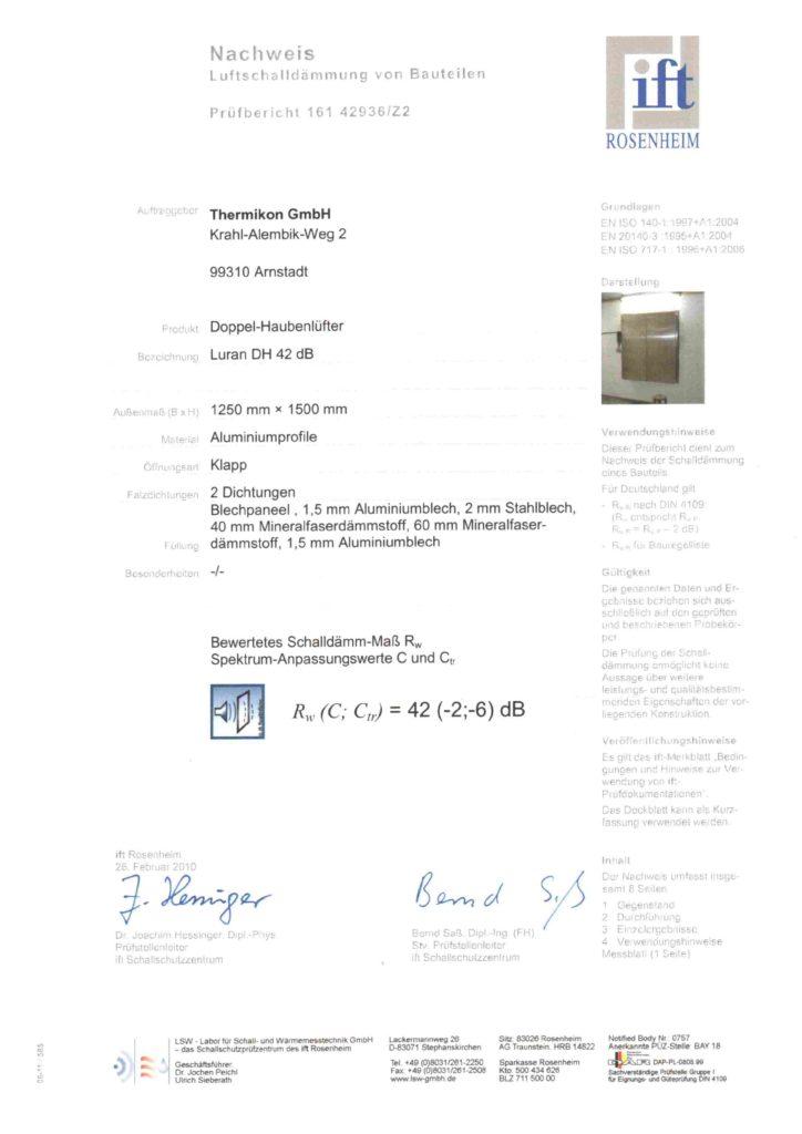 Nachweis Luftschalldämmung Luran DH 42 dB