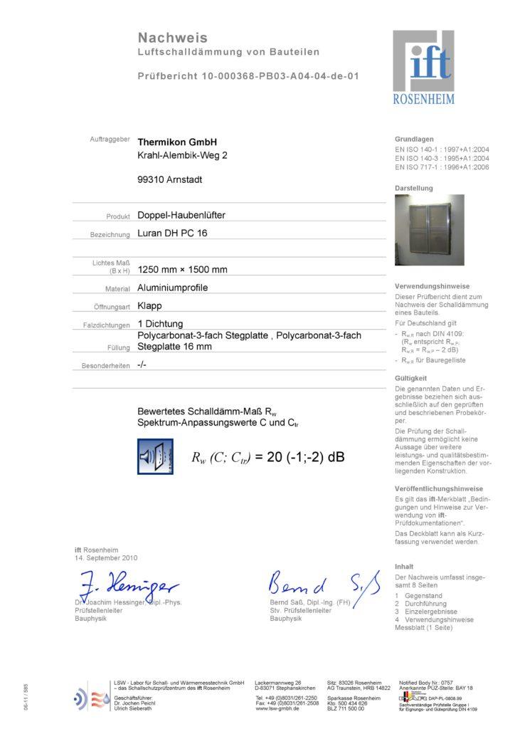 Nachweis Luftschalldämmung Luran DH PC 16